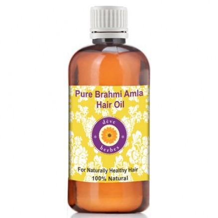 Pure Brahmi Amla Hair Oil with 100% Natural Therapeutic Grade 100ml (3.38oz)