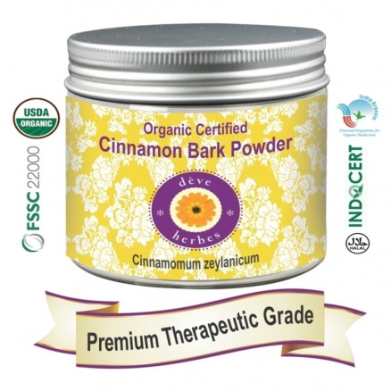 Pure Cinnamon Bark Powder (Cinnamomum zeylanicum) Organic Certified 100% Natural Therapeutic Grade