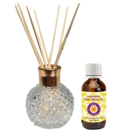 Reed Diffuser with 10 Reed Sticks and Lemongrass Aroma Oil 30ml (Fragrance made in Spain)
